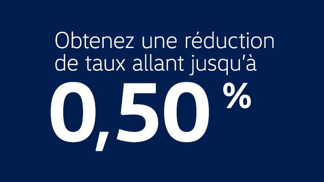 Obtenez une réduction de taux de allant jusqu'à 0,50 %