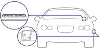 Illustration of VIN location on car